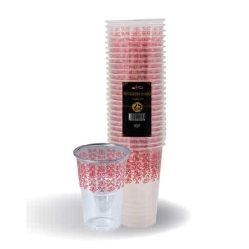 """כוסות מעוטרות ארוז 25 יח' 250 מ""""ל בורדו ר.שמאי"""
