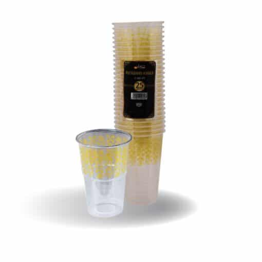 """כוסות מעוטרות ארוז 25 יח' 250 מ""""ל זהב ר.שמאי"""