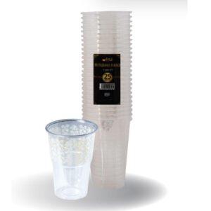 """כוסות מעוטרות ארוז 25 יח' 250 מ""""ל לבן ר.שמאי"""