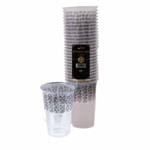 """כוסות מעוטרות ארוז 25 יח' 250 מ""""ל שחור ר.שמאי"""