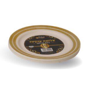צלחות יהלום ענק קרם זהב 10 יח' ר.שמאי