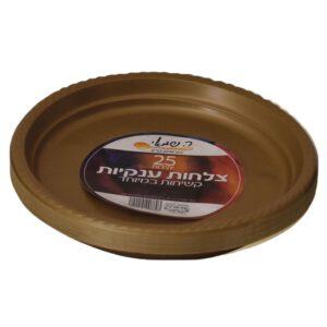צלחות ענק צבעוני 25 יח' זהב ר.שמאי
