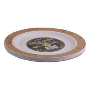 צלחות מרבל גדול לבן זהב 10 יח'  ר.שמאי