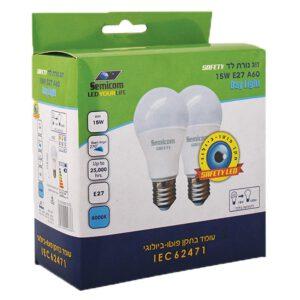 """מנורות לד 60A DL זוג (15W) """"אקו"""""""
