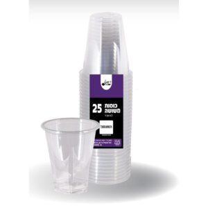 """כוס משושה שקוף איכותי 200 מ""""ל PET ארוז 25 יח' ר.שמאי"""