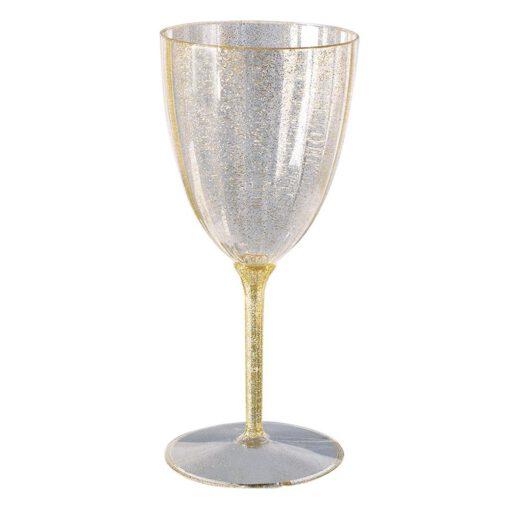 """גביעי יין גדולות 100 מ""""ל 6 יח' PVC  נצנץ זהב"""