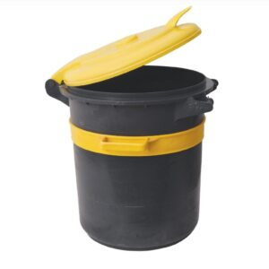 פח 80 שחור  עם מכסה צהוב