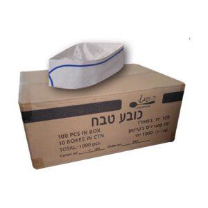 כובע טבח 70 גרם פס כחול 100 יח' ר. שמאי